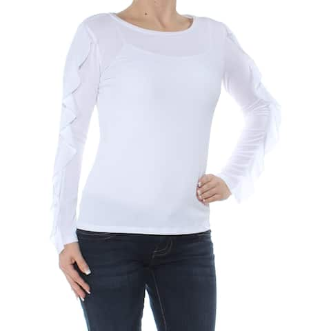 TOMMY HILFIGER Womens White Ruffled Long Sleeve Boat Neck Top Size: XS