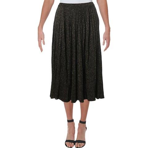 T Tahari Womens Midi Skirt Metallic A-line