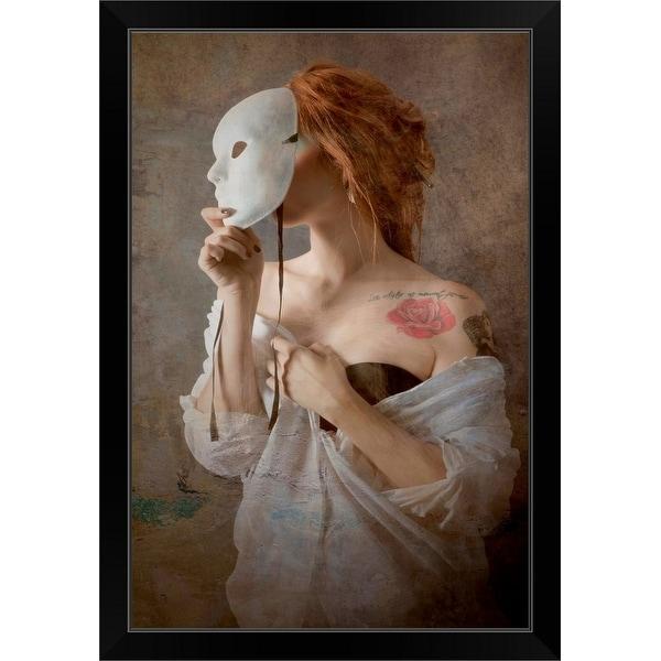 """Seeing through the mask"" Black Framed Print"