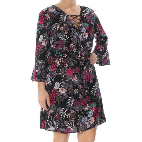 JESSICA SIMPSON Womens Black Floral Bell Sleeve V Neck Above The Knee Shift Dress Size: 14