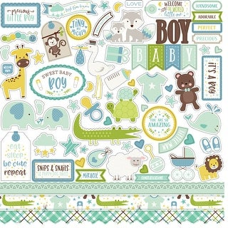 "Sweet Baby Boy Cardstock Stickers 12""X12""-Elements"