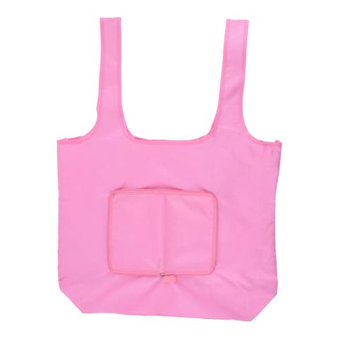 Travel Nylon Rectangle Shaped Shoulder Hand Carrier Foldable Shopping Bag Pink
