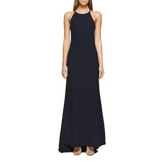 Calvin Klein High Neck Crepe Halter Gown Black 4