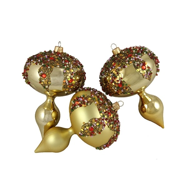 3ct Gold Glitter Sequin Beaded Shatterproof Christmas Finial Ornaments 5""