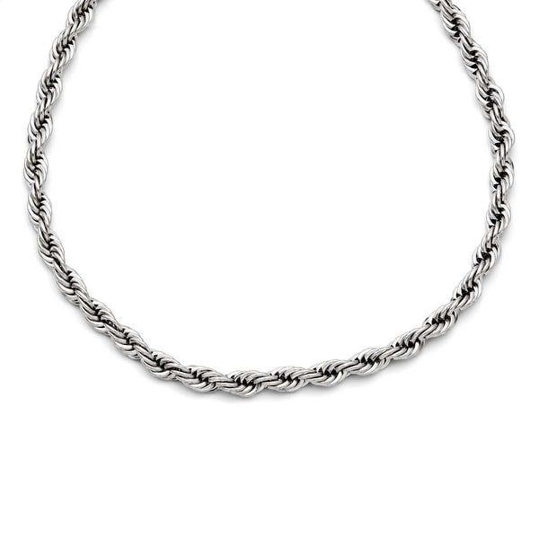 Chisel Stainless Steel Polished 6mm Rope Necklace (6 mm) - 20 in