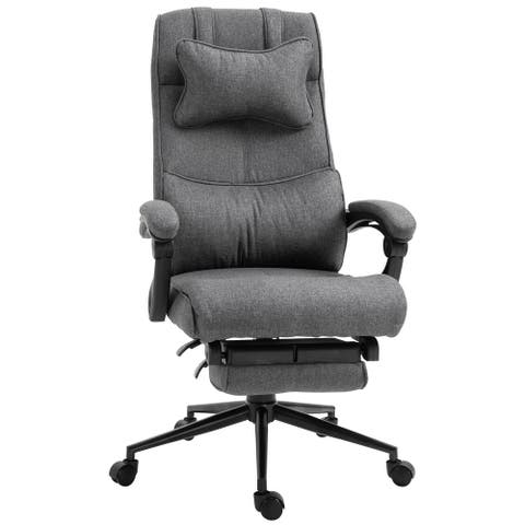 Vinsetto Reclining Home Office Chair Executive Adjustable Rolling Swivel Chair With Retractable Footrest