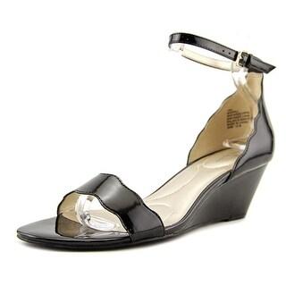 Bandolino Opali Women  Open Toe Synthetic Black Wedge Heel