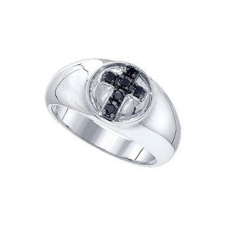 Sterling Silver Black Colored Diamond Cross Christian Wedding Anniversary Band 1/4 Cttw