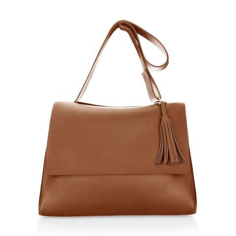 Women Magnetic Snap-Tab Closure Flap PU Shoulder Bag - Brown
