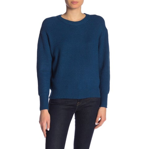Elodie Teal Blue Womens Size Small S Ribbed Crewneck Knit Sweater