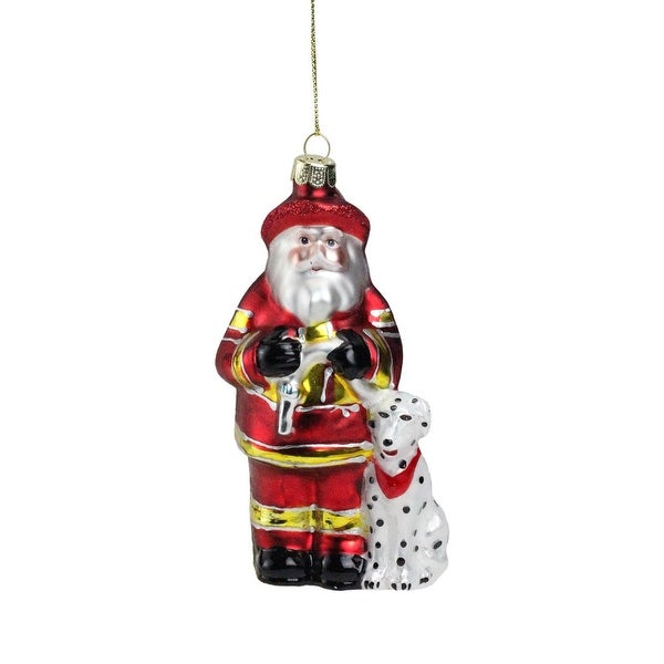 "5"" Fireman Santa Claus with Dalmatian Christmas Ornament"