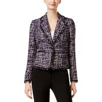 Anne Klein Womens Blazer Tweed Fringe