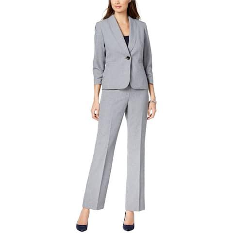 Le Suit Womens Crosshatch Pant Suit, Blue, 14