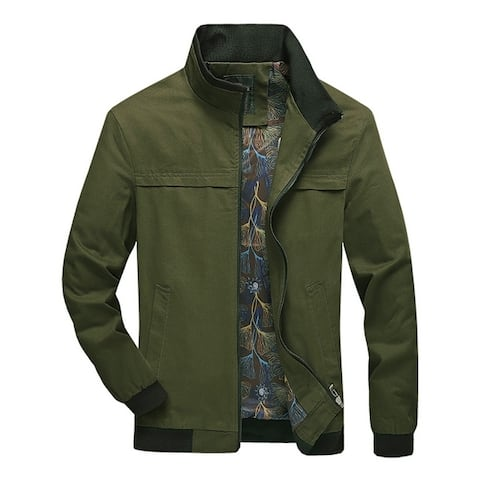 Mens Casual Jacket Zipper New Style Solid Stand Collar Jackets Fit Blazer Regular Thickness Autumn & Winter