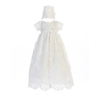 Baby Girls White Embroidered Tulle Bonnie Hat Christening Dress
