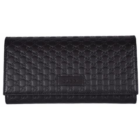 e71759ab4 Gucci Women's 449396 Black Leather Micro GG Continental Bifold Wallet -  7.5