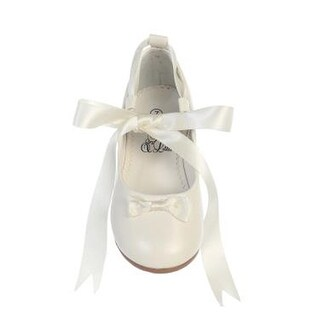 Little Girls Ivory Satin Ribbon Ballerina Flats Occasion Shoes 5-10 Toddler