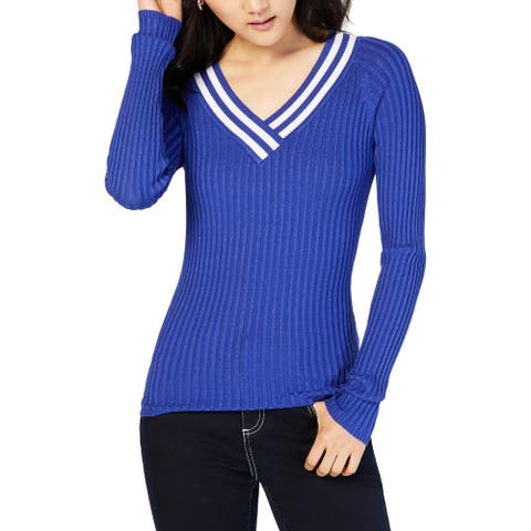 Hooked Up by IOT Womens Pullover Sweater V-Neck Striped - Blue/Vanilla - XS