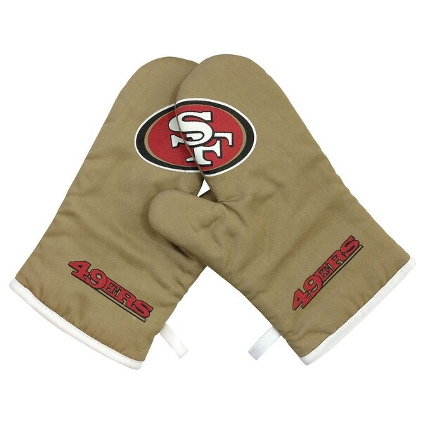"San Francisco 49Ers NFL Oven Cross Mitt Gloves - 10 1/2"" x 7"". Opens flyout."