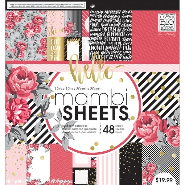 """Mambi Single-Sided Paper Pad 12""""X12"""" 48/Pkg-Life Is Rosy"""