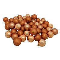 "60ct Shatterproof Almond Shiny and Matte Christmas Ball Ornaments 2.5"" (60mm) - brown"