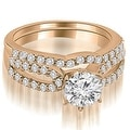1.39 cttw. 14K Rose Gold Exquisite Split Shank Round Diamond Bridal Set - Thumbnail 0