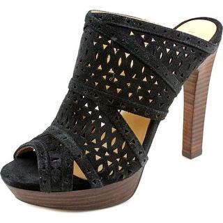 BCBG Max Azria Galinaa Women Open Toe Suede Black Platform Sandal
