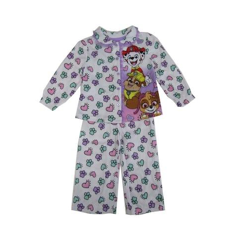Nickelodeon Little Girls White Pink Paw Patrol Button Up 2 Pc Pajama Set