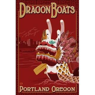 Portland, OR - Dragon Boats - LP Artwork (100% Cotton Tote Bag - Reusable)