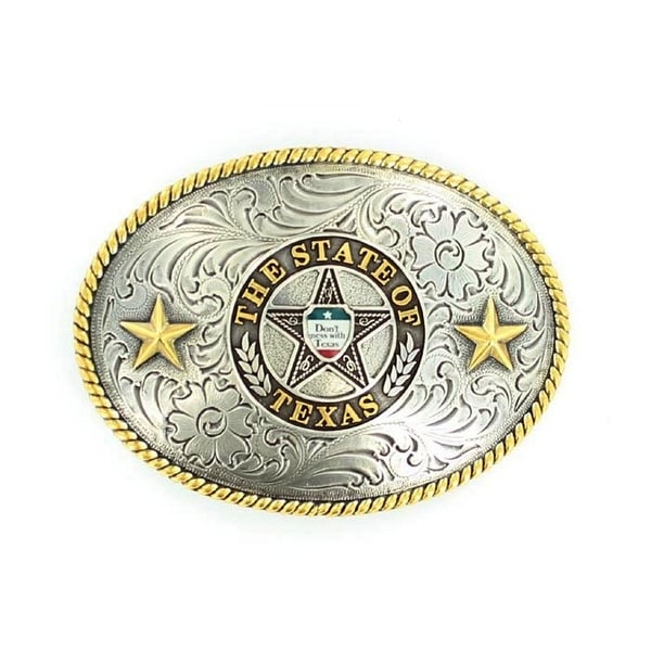 Nocona Western Belt Buckle Oval Texas Seal 3 x 4 Silver - 3 x 4