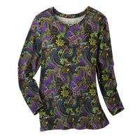 Women's Tunic Top - Brushed Mulberry Paisley Long Sleeve Blouse