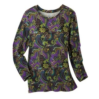 Women's Tunic Top - Brushed Mulberry Paisley Long Sleeve Blouse (3 options available)