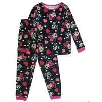 Disney Little Girls Black Pink Minnie Mouse Heart Print 2 Pc Pajamas Set