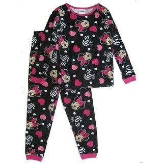 Disney Little Girls Black Pink Minnie Mouse Heart Print 2 Pc Pajamas Set