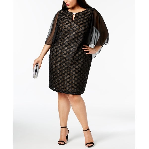 Connected Apparel Black Womens Size 22W Plus Shimmer Sheath Dress