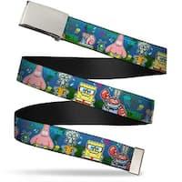 Blank Chrome  Buckle SpongeBob & Friends 8 Bit Scene Webbing Web Belt - S