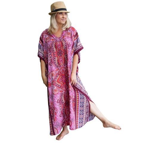 Metropolitan Women's Fuchsia Long Lounger - Printed V-Neck Silky Caftan Dress - One Size