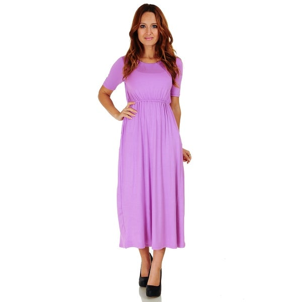 Simply Ravishing Women's Half Sleeve Full Length Maxi Blouson Dress with Pockets (Size: S-3X)