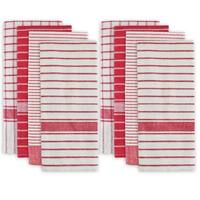 """Set of 8 Red and White Striped Pattern Rectangular Dish Towels 28"""" x 20"""""""