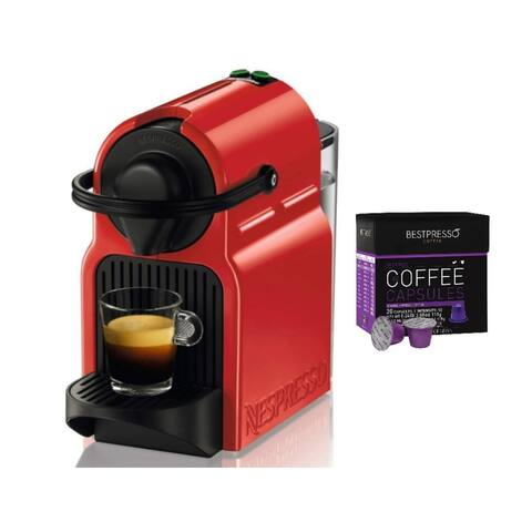 Breville Nespresso Inissia Original Espresso Machine (Red) Bundle