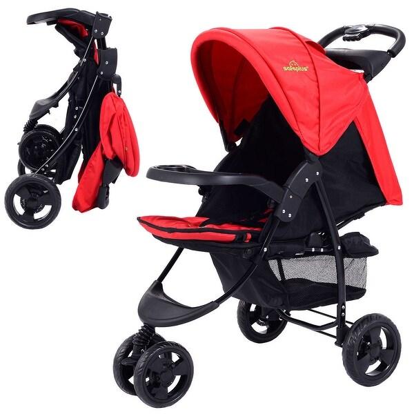 3 Wheel Foldable Baby Kids Travel Stroller Pushchair Buggy Newborn Infant Red