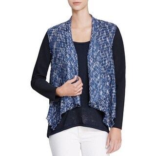 Elie Tahari Womens Claire Cropped Jacket Linen Blend Mixed Media