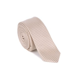 """Dolce & Gabbana Mens Light Champagne Stitched Silk 1.5"""" Slim Blade Tie"""