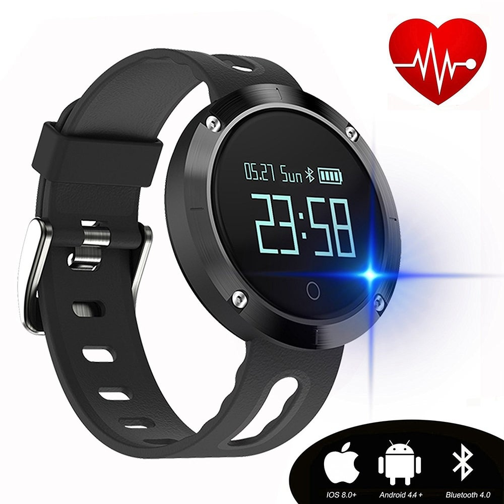 Fixm Smart Fitness Tracker w/ Blood Pressure & Heart Rate Monitor For IOS Android (black)