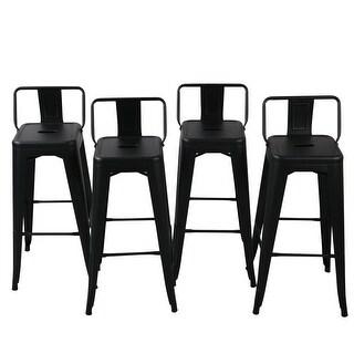 Belleze 30 Inch Barstools Black Bar Stools Low Back (Set Of 4)