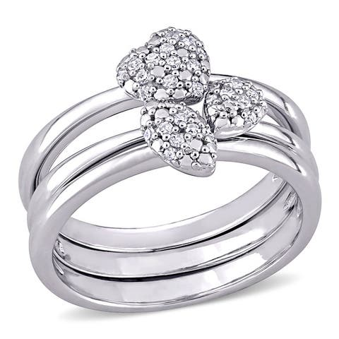 Miadora Sterling Silver 1/6ct TDW Diamond Heart, Marquise & Pear Clustered 3-Piece Stackable Ring