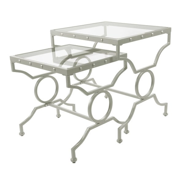 """Set of 2 Silver and Clear Contemporary Rectangular Nesting Tables 23.5"""" - N/A"""