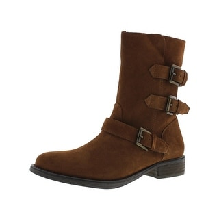 Steve Madden Womens Altta Mid-Calf Boots Suede Belted