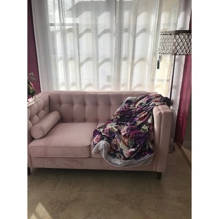 Beverly Pink Velvet Sofa or Loveseat with Pillows by iNSPIRE Q Bold