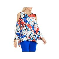 Vince Camuto Womens Casual Top Cold Shoulder Printed